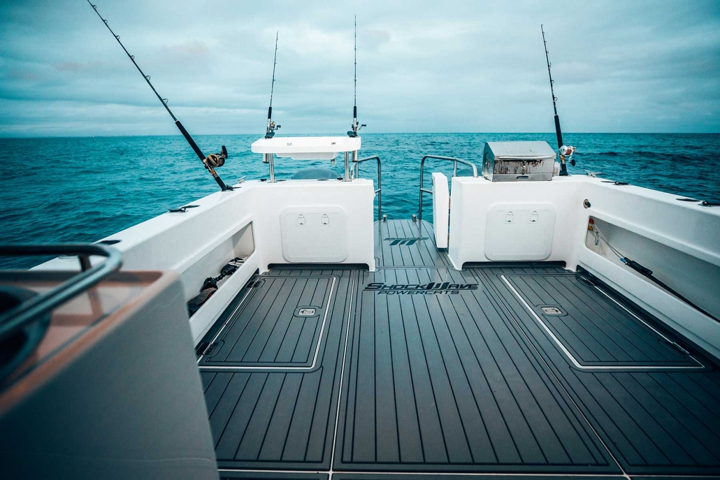Deck space on Shockwave Marine catamaran